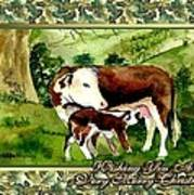 Hereford Cow And Calf Blank Christmas Card Art Print
