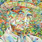 Hermann Hesse With Hat Watercolor Portrait Art Print