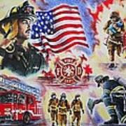 Heroes American Firefighters Art Print