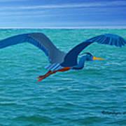 Heron Flying Over Ocean Art Print