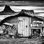 Herring Boat Hut Lindisfarne Monochrome Art Print