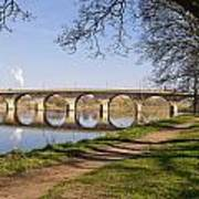 Hexham Bridge And Riverside Path Art Print