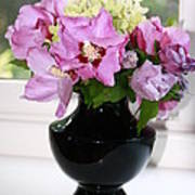 Hibiscus And Hydrangea Flower Art Print