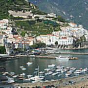 High Angle View Of A Town, Amalfi Art Print