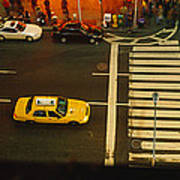High Angle View Of Cars At A Zebra Art Print