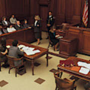 High angle view of courtroom Art Print