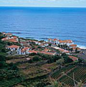 High Angle View Of Houses At A Coast Art Print