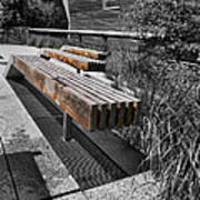 High Line Benches Black And White Art Print