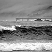High Seas By The Pier Art Print
