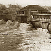 High Tide And Big Waves At Lovers Point Beach Pacific Grove California Circa 1907 Art Print