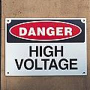 High Voltage Sign Art Print by Hans Engbers