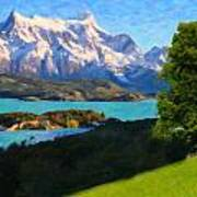 Highlands Of Chile  Lago Pehoe In Torres Del Paine Chile Art Print
