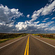 Highway Life - Blue Sky Down The Road In Oklahoma Art Print