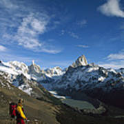 Hiker Admiring Cerro Torre And Fitzroy Art Print