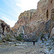 Hiker In Big Painted Canyons Trail In Mecca Hills-ca Art Print