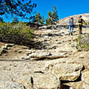 Hikers On Sentinel Dome Trail In Yosemite Np-ca  Art Print