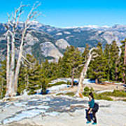 Hiking On Barren Rock On Sentinel Dome In Yosemite Np-ca Art Print