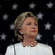 Hillary Clinton Campaigns Across Art Print