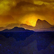 Hills In The Distance At Sunset Art Print