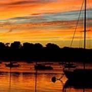 Hingham Sunset And Sailboats Art Print