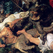 Hippopotamus And Crocodile Hunt, C.1615-16 Oil On Canvas Detail See Also 156517 Art Print