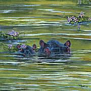 Hippos And Hyacinths Art Print