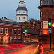 Historic Annapolis And Evening Traffic I Art Print