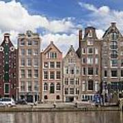Historic Buildings Along The Damrak Canal In Amsterdam Art Print