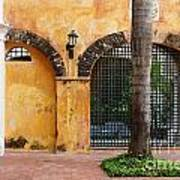 Historic Colonial Courtyard In Colombia Art Print