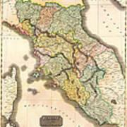Historic Map Of Tuscany 1814 Art Print