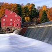 Historic Red Mill At Fall Clinton New Jersey Art Print