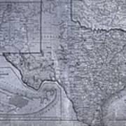 Historic Texas Map Art Print by Dan Sproul