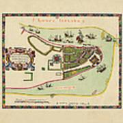 Historical Map Of Manhattan 1661 Art Print