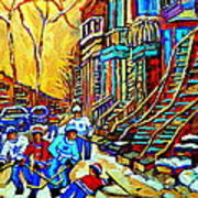 Hockey Art Montreal Winter Scene Winding Staircases Kids Playing Street Hockey Painting  Art Print by Carole Spandau