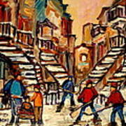 Hockey Game Near Winding Staircases Montreal Streetscene Art Print by Carole Spandau