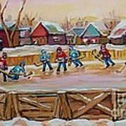 Hockey Game-outdoor Hockey -beautiful Canadian Winter Landscape-hockey Heroes-carole Spandau Art Print