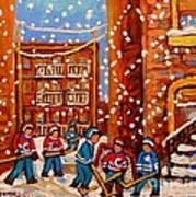 Hockey In The Laneway On Snowy Day Paintings Of Montreal Streets In Winter Carole Spandau Art Print