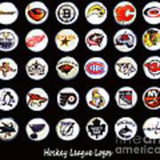 Hockey League Logos Bottle Caps Art Print