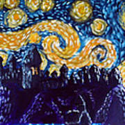 Hogwarts Starry Night Art Print by Jera Sky