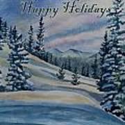 Happy Holidays - Winter Landscape Art Print