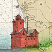 Holland Harbor Lighthouse Mi Nautical Chart Map Art Art Print