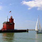 Holland Harbor Lighthouse With Sailboat Art Print