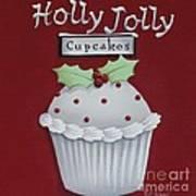 Holly Jolly Cupcakes Art Print