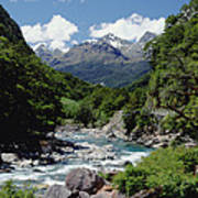 Hollyford River And The Eyre Range Art Print