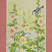 Hollyhocks And Nuthatches Art Print