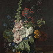 Hollyhocks And Other Flowers In A Vase Art Print