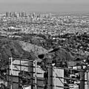 Hollywood And Los Angeles City Skyline Art Print