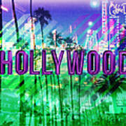 Hollywood Day And Night Art Print