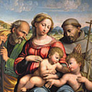 Holy Family With The Infant St. John The Baptist And St. Francis Art Print