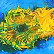 Homage To Dear Master Van Gogh Two Cut Sunflowers Art Print